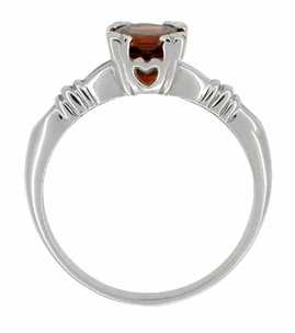 Art Deco Clovers and Hearts Almandine Garnet Engagement Ring in 14 Karat White Gold - Item R707W - Image 1