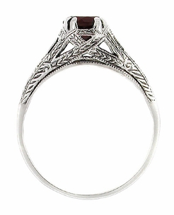 Art Deco Filigree Engraved Almandine Garnet Promise Ring in Sterling Silver - Item SSR4 - Image 1