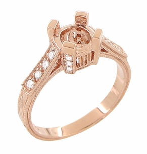Art Deco 3/4 Carat Diamond Filigree Castle Engagement Ring Mounting in 14 Karat Rose Gold | Vintage Pink Gold Setting - Item R663R - Image 2