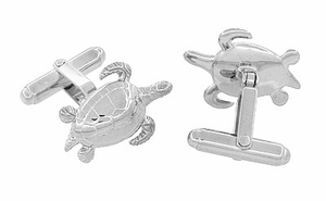 Sea Turtle Cufflinks in Sterling Silver - Click to enlarge
