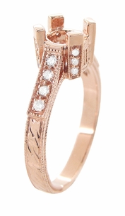 Art Deco 3/4 Carat Diamond Filigree Castle Engagement Ring Mounting in 14 Karat Rose Gold | Vintage Pink Gold Setting - Item R663R - Image 3