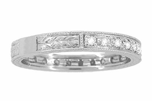 Art Deco Engraved Wheat Diamond Eternity Wedding Band in 18 Karat White Gold - Item R678 - Image 2