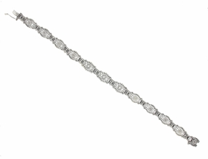 Art Deco Sunburst Filigree Diamond Bracelet in Sterling Silver - Item SSBR6 - Image 1