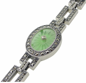 Art Deco Verdelite Starburst Crystal Marcasite Bracelet in Sterling Silver - Click to enlarge