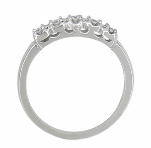 Retro Moderne White Sapphire Filigree Wedding Ring in 14 Karat White Gold - Click to enlarge