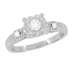 Retro Moderne Lucky Clover White Sapphire Engagement Ring in 14 Karat White Gold