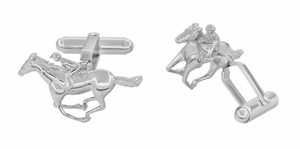 Race Horse and Jockey Cufflinks in Sterling Silver - Item SCL145 - Image 1