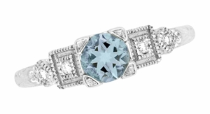 Art Deco Diamonds and Aquamarine Engagement Ring in Platinum - Item R208P - Image 1