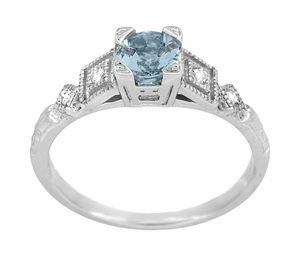 Art Deco Diamonds and Aquamarine Engagement Ring in Platinum - Item R208P - Image 2