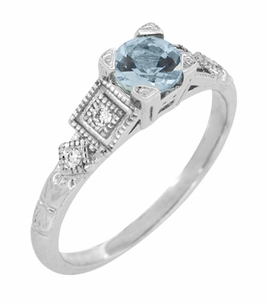 Art Deco Diamonds and Aquamarine Engagement Ring in Platinum - Item R208P - Image 3