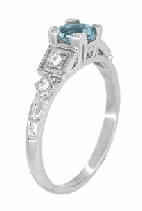 Art Deco Diamonds and Aquamarine Engagement Ring in Platinum - Item R208P - Image 4
