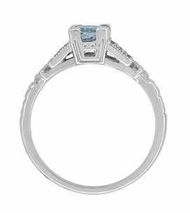 Art Deco Diamonds and Aquamarine Engagement Ring in Platinum - Item R208P - Image 5
