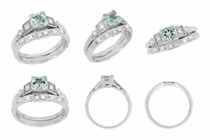 Art Deco Diamonds and Aquamarine Engagement Ring in Platinum - Item R208P - Image 6