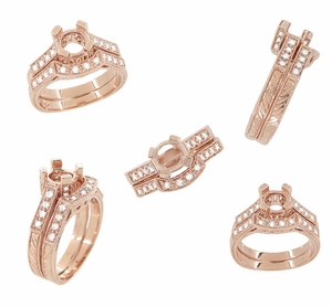 Art Deco Diamond Filigree Wedding Ring in 14 Karat Rose ( Pink ) Gold | Matching Engraved Pink Gold Curved Diamond Band - Item WR663R - Image 3