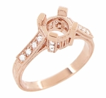 Art Deco 3/4 Carat Diamond Filigree Castle Engagement Ring Mounting in 14 Karat Rose Gold | Vintage Pink Gold Setting