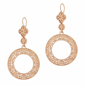 Art Deco Circle of Love Sterling Silver Drop Dangle Filigree Earrings with Rose Gold Vermeil - Item E170R - Image 1
