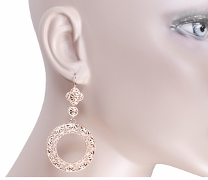 Art Deco Circle of Love Sterling Silver Drop Dangle Filigree Earrings with Rose Gold Vermeil - Item E170R - Image 2