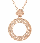 Art Deco Eternal Circle of Love Filigree Pendant Necklace in Sterling Silver with Rose Gold Vermeil