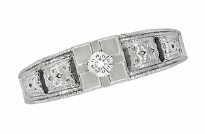 Art Deco Filigree Diamond Engagement Ring in 14 Karat White Gold - Click to enlarge