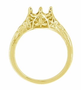 Art Deco 3/4 Carat Crown of Leaves Filigree Engagement Ring Setting in 18 Karat Yellow Gold - Click to enlarge