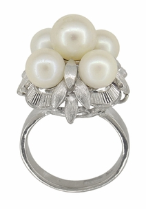 Retro Moderne Flowers and Leaves Vintage Pearl Cluster Ring in 14 Karat White Gold - Click to enlarge