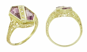 Art Deco Amethyst and Diamond Shield Filigree Ring in 14 Karat Yellow Gold - Click to enlarge