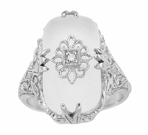 Art Deco Filigree Crystal and Diamond Set Ring in 14 Karat White Gold - Click to enlarge