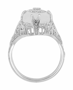 Art Deco Filigree Crystal and Diamond Set Ring in 14 Karat White Gold - Item RV1028 - Image 3