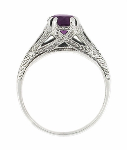 Art Deco Amethyst Filigree Engraved Ring in Sterling Silver - Item SSR2 - Image 1