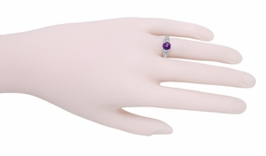 Art Deco Amethyst Filigree Engraved Ring in Sterling Silver - Click to enlarge