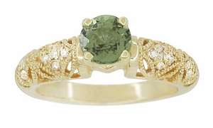 "Art Deco Filigree Green Sapphire and Diamond ""Charlene"" Engagement Ring in 14 Karat Yellow Gold - Item R1190YGS - Image 2"