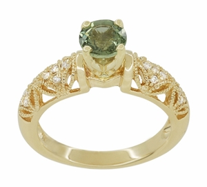 "Art Deco Filigree Green Sapphire and Diamond ""Charlene"" Engagement Ring in 14 Karat Yellow Gold - Item R1190YGS - Image 3"