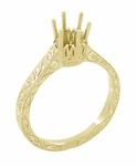 1/3 Carat Crown Filigree Scrolls Art Deco Engagement Ring Setting in 18 Karat Yellow Gold