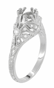 Antique Style 3/4 Carat Edwardian Filigree Engagement Ring Mounting in 18 Karat White Gold - Click to enlarge