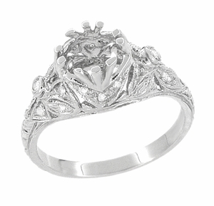 Antique Style Edwardian Filigree 3/4 Carat Engagement Ring Mounting in 18K White Gold | 6mm Round Setting - Item R679 - Image 4