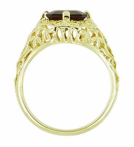 Art Deco Flowers and Leaves Almandine Garnet Filigree Ring in 14 Karat Yellow Gold - Item RV193 - Image 3