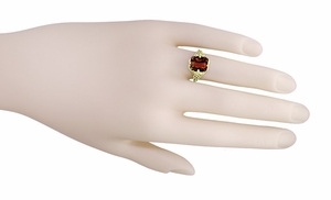 Art Deco Flowers and Leaves Almandine Garnet Filigree Ring in 14 Karat Yellow Gold - Item RV193 - Image 4