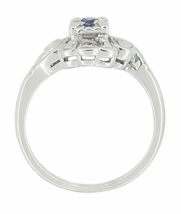 Art Deco Scroll Sapphire Cocktail Ring in 14 Karat White Gold - Click to enlarge