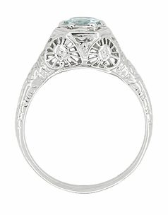 Aquamarine Filigree Ring in 14 Karat White Gold - Click to enlarge