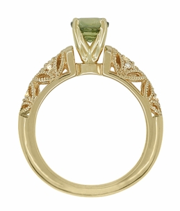 "Art Deco Filigree Green Sapphire and Diamond ""Charlene"" Engagement Ring in 14 Karat Yellow Gold - Click to enlarge"