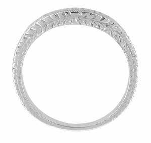 Art Deco Curved Engraved Wheat Wedding Band in 14 Karat White Gold - Click to enlarge