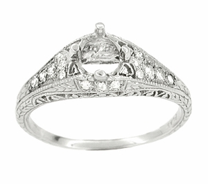 Art Deco 2/5 Carat Diamond Filigree Engagement Ring Setting in Platinum - Item R296NS - Image 1