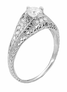 Art Deco 2/5 Carat Diamond Filigree Engagement Ring Setting in Platinum - Item R296NS - Image 2