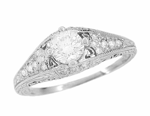 Art Deco 2/5 Carat Diamond Filigree Engagement Ring Setting in Platinum - Item R296NS - Image 3