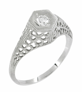 Art Deco Filigree Diamond Antique Engagement Ring in 14 Karat White Gold - Item R480 - Image 1
