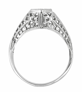 Art Deco Filigree Diamond Antique Engagement Ring in 14 Karat White Gold - Click to enlarge