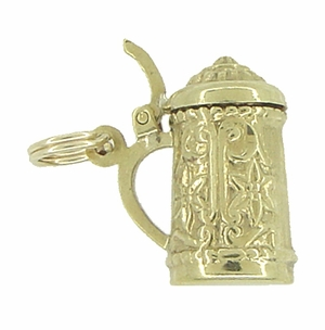 Vintage Movable Beer Stein Charm in 10 Karat Yellow Gold - Click to enlarge