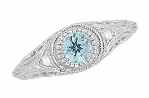 Art Deco Engraved Aquamarine and Diamond Filigree Engagement Ring in 14 Karat White Gold - Item R138A - Image 1