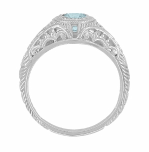 Art Deco Engraved Aquamarine and Diamond Filigree Engagement Ring in 14 Karat White Gold - Click to enlarge