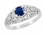 Edwardian Filigree Flowers Blue Sapphire Dome Ring in Sterling Silver
